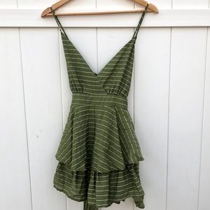 Green romper wrap top ruffle size large